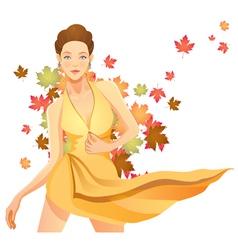 pretty autumn girl vector image vector image