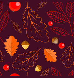 seamless pattern of oak leaves leaves and rowan vector image