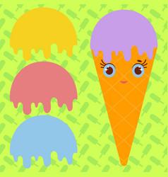 set ice cream balls of yellow red purple blue vector image