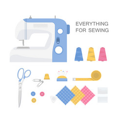 set of sewing tools vector image vector image