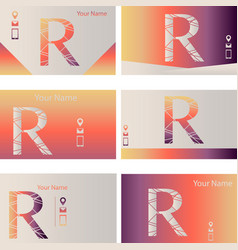Set of six colorful business card with letter r vector