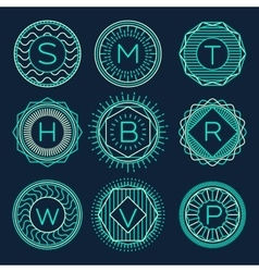 Set trendy monograms logotypes linear style vector image vector image