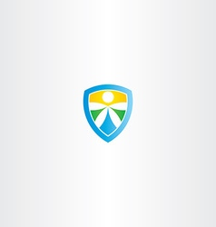 shield water sun and earth symbol vector image vector image