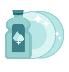 shiny polished dishes and bottle of special vector image