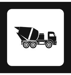 Truck concrete mixer icon simple style vector