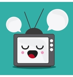 tv and bubble icon Kawaii and technology vector image vector image
