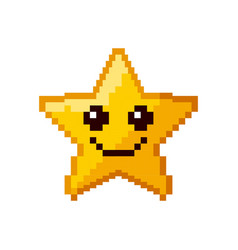 Video game star pixelated vector