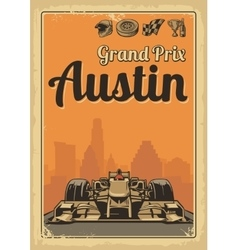 Vintage poster grand prix austin vector