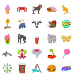 Zoo icons set cartoon style vector