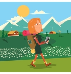 Girl hike cartoon colorful vector
