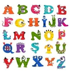 Funny monster alphabet for kids vector