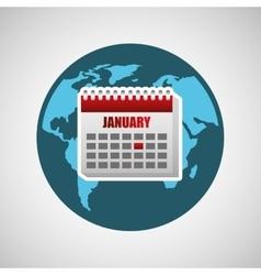 concept globe calendar social media vector image