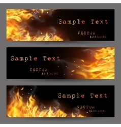 Fire flame banners set vector