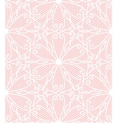 Seamless white lace pattern on pink background vector