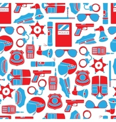 Seamless pattern of police equipment vector