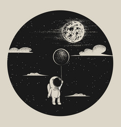 astronaut fly to moon vector image