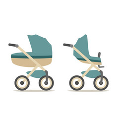 Set baby carriage color flat vector