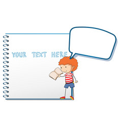 Notebook template with boy reading vector