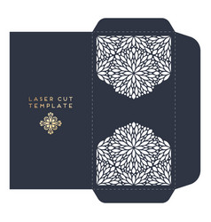 Wedding card laser cut template with vector