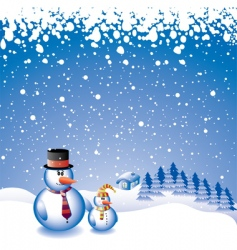 Two snowmen vector