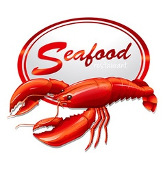 Fresh seafood with lobster vector