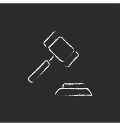 Auction gavel icon drawn in chalk vector