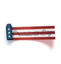 Presidents day big realistic scroll usa ribbon vector