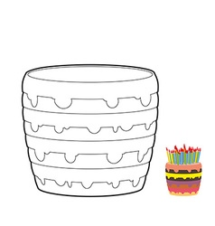 Cake coloring book confectionery for birthday vector