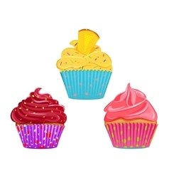 Collection of cupcakes vector
