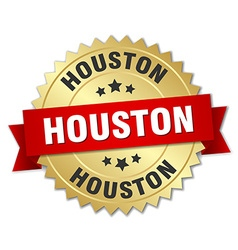 Houston round golden badge with red ribbon vector