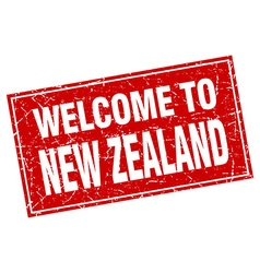 New zealand red square grunge welcome to stamp vector