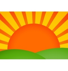 Halftone card with sunrise over green hills vector image