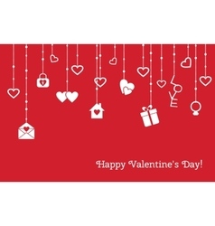 Card for valentines day with hanging hearts gifts vector