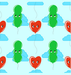 color seamless pattern of cute smiling balloons vector image