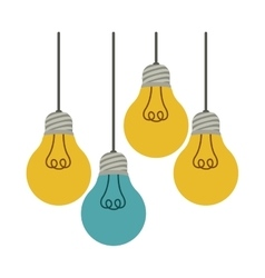 Colorful hanging bulbs with filaments illuminated vector