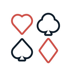 colorful playing cards symbols set on white vector image vector image