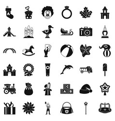 Elephant icons set simple style vector
