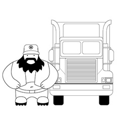 Fat truck driver and cargo car Line-art vector image