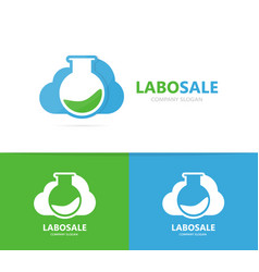 flask and cloud logo combination vector image vector image