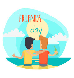 friends day two friends sit on beach vector image