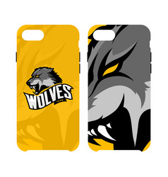 Furious wolf sport logo concept smart phone vector