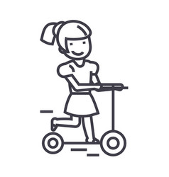 Girl on a scooter line icon sign vector