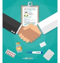 Handshake between doctor and patient vector