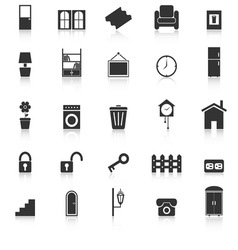 House related icons with reflect on white vector image vector image