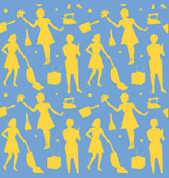 Housewife retro woman silhouette seamless pattern vector