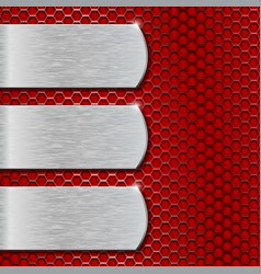 Metal plates on red perforated background vector