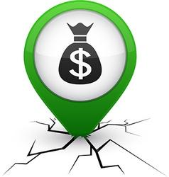 Money green icon in crack vector