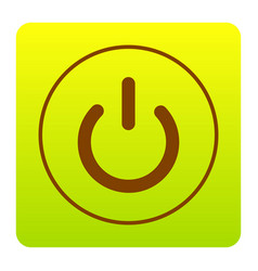 On off switch sign brown icon at green vector