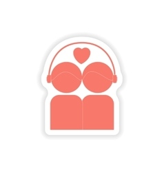 Paper sticker on white background couple listening vector