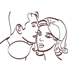 Romantic couplemale whispers in womans ear vector image vector image